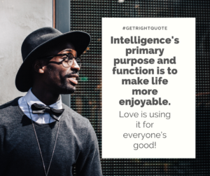 Intelligence's primary purpose and function is to make life more enjoyable.